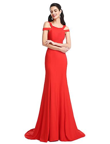 Trompete / Meerjungfrau Riemen Pinsel Schleppe Jersey Formeller Abend Kleid mit Plissee durch TS Couture®