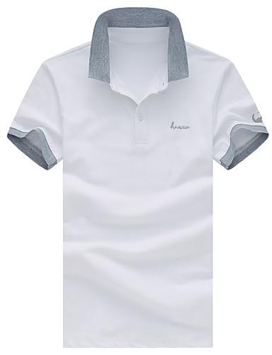 Homens Tamanhos Grandes Polo Retalhos / Letra Algodão Colarinho de Camisa / Manga Curta