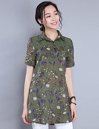 Dámské Květinový Denní Jednoduché Polo Polyester Košilový límec Krátký rukáv
