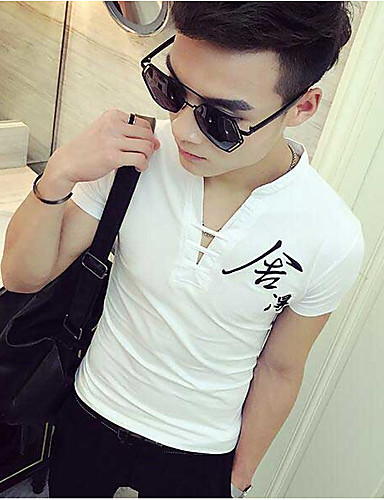 Herren Solide Einfach Lässig/Alltäglich T-shirt,V-Ausschnitt Kurzarm Baumwolle