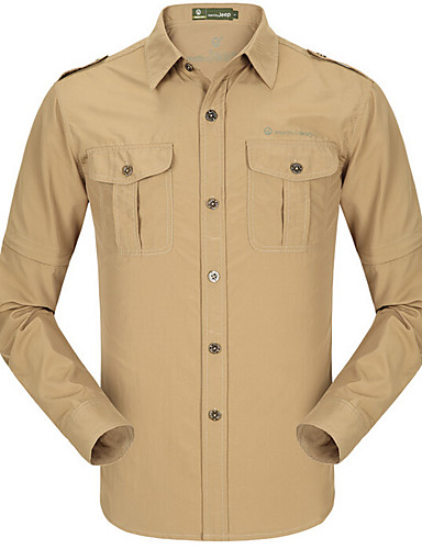 cheap Outdoor Clothing-Men's Hiking Shirt / Button Down Shirts Long Sleeve Outdoor Cycling Quick Dry Multi Pocket Convert to Short Sleeves All Seasons Silk Khaki Gold / Brown Light Green Running