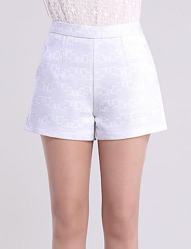Damen Einfach Hohe Hüfthöhe Mikro-elastisch Kurze Hosen Breites Bein Hose,Reine Farbe Jacquard einfarbig