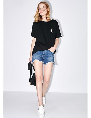 Naisten Yhtenäinen / Kirjailu Yksinkertainen T-paita