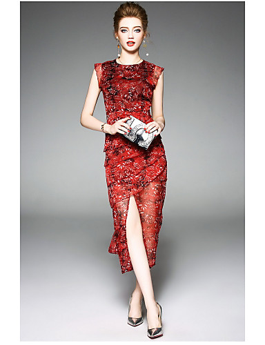 Damen Lose / Hülle Kleid Blumen Midi