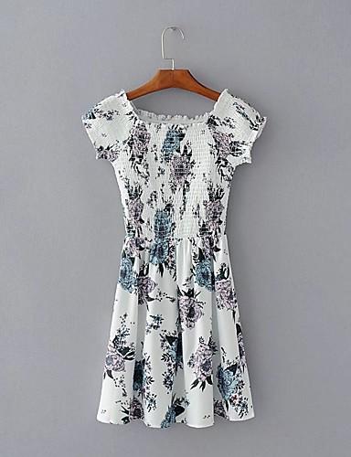 Damen Bodycon Kleid-Ausgehen Lässig/Alltäglich Einfach Street Schick Druck Rundhalsausschnitt Übers Knie Kurzarm Seide Baumwolle Sommer