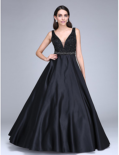 Ball Gown Princess Plunging Neckline Floor Length Satin Formal Evening Dress with Beading Sash / Ribbon by TS Couture®
