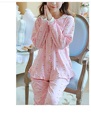 Damen Satin & Seide Pyjamas,Punkt Baumwolle Blau Rosa