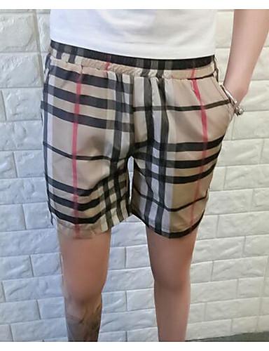 Pánské Jednoduchý strenchy Kraťasy Kalhoty Volné Mid Rise Proužky
