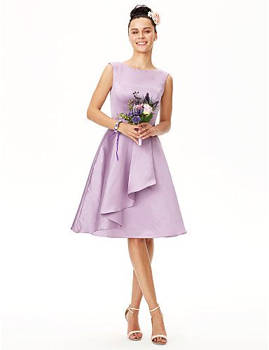 A-Line Jewel Neck Knee Length Satin Bridesmaid Dress with Sash / Ribbon Pleats by LAN TING BRIDE®