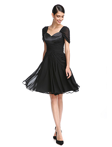 c0dab4d365d A-Line   Fit   Flare Queen Anne Knee Length Chiffon Little Black Dress  Cocktail Party   Prom Dress with Criss Cross   Ruched by TS Couture®