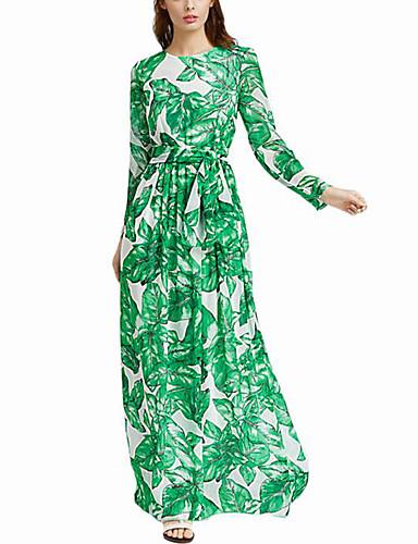 Mulheres Boho balanço Vestido - Franzido Estampado Longo