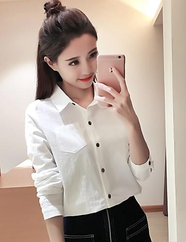 Damen Solide - Freizeit Ausgehen Baumwolle T-shirt, Hemdkragen
