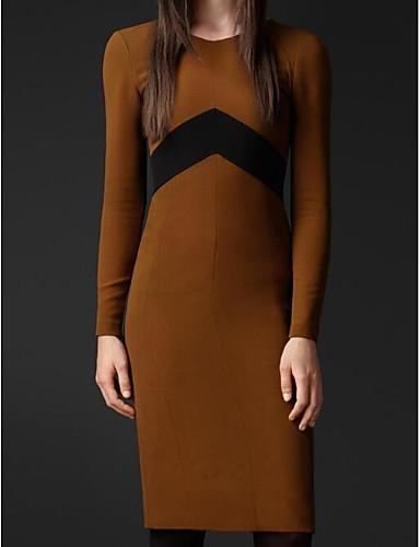 Damen Hülle Kleid-Lässig/Alltäglich Einfach Solide V-Ausschnitt Knielang Langarm Baumwolle Herbst Mittlere Hüfthöhe Mikro-elastisch Mittel
