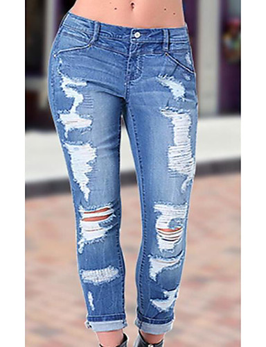 cheap Women's Pants-Women's Plus Size Daily Wear Skinny Skinny Pants - Solid Color Pure Color Blue XL XXL XXXL