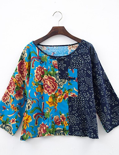 Damen Solide Einfach Lässig/Alltäglich T-shirt,Rundhalsausschnitt Frühling Herbst ¾-Arm Baumwolle