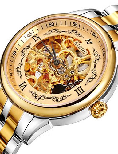 Pánské Módní hodinky mechanické hodinky Automatické natahování Voděodolné Slitina Kůže Kapela Černá Hnědá Zlatá