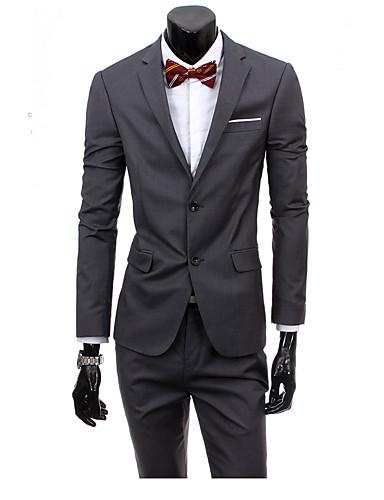 Pánské Jednobarevné Práce Jednoduchý Oblek-Jaro Léto Neuvedeno Klasické klopy Long Pant Standardní