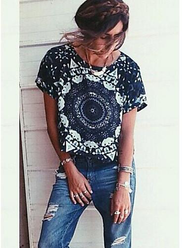 Damen Blumen Einfach Lässig/Alltäglich T-shirt,Rundhalsausschnitt Sommer Kurzarm Baumwolle Dünn