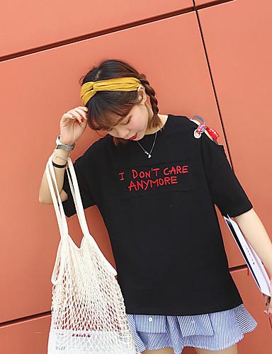 Damen Geometrisch Einfach Ausgehen T-shirt,Rundhalsausschnitt Kurzarm Baumwolle