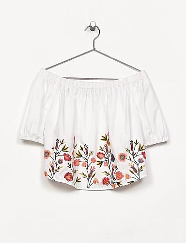 Damen Blumen Druck Einfach Sexy Street Schick Bluse,Bateau Sommer Kurzarm Baumwolle Dünn Mittel