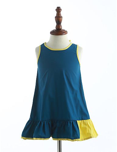 Mädchen Kleid Solide Baumwolle Sommer Ärmellos Gerüscht Blau