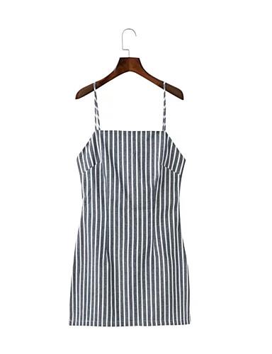 Damen A-Linie Lose Etuikleid Kleid Einfach Street Schick Gestreift Gurt Übers Knie Ärmellos Seide Baumwolle Sommer Herbst Mittlere