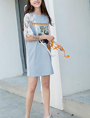 Damen Etuikleid Kleid-Lässig/Alltäglich Einfach Einfarbig Rundhalsausschnitt Übers Knie Kurzarm Baumwolle Sommer Mittlere Hüfthöhe