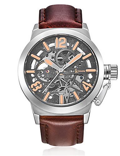 Pánské Módní hodinky mechanické hodinky Automatické natahování Voděodolné Svítící Kůže Kapela Černá Hnědá