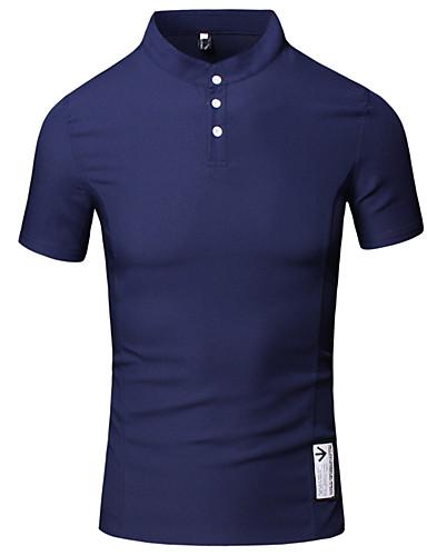 Homens Camiseta - Trabalho Casual Fashion / Estampado Algodão Colarinho Chinês / Manga Curta