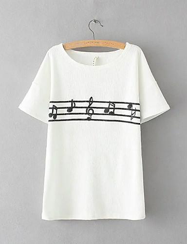 Damen Druck Sexy Einfach Street Schick Ausgehen Lässig/Alltäglich T-shirt,Rundhalsausschnitt Sommer Kurzarm Baumwolle Dünn Mittel