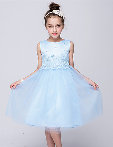 Prinzessin Knielänge Blumenmädchen Kleid - Satin Tüll ärmellosen Juwel Hals mit Perle von bflower