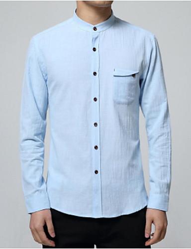 Pánské Jednobarevné Velké velikosti Vintage Čínské vzory Košile-Jaro Podzim Bavlna Podšívka Stojáček Dlouhý rukáv Střední