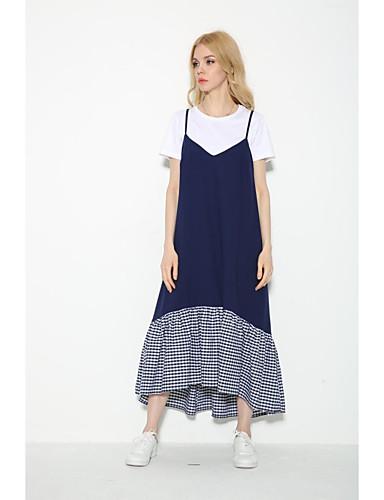 Damen Lose Etuikleid Kleid-Ausgehen Lässig/Alltäglich Einfach Street Schick Gestreift Einfarbig Gurt Maxi Ärmellos Seide Baumwolle Sommer
