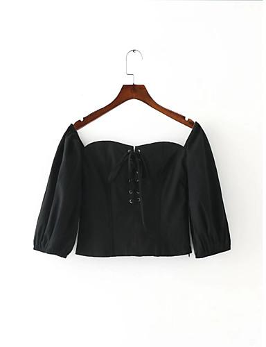 Damen Solide Einfach Sexy Street Schick Ausgehen Lässig/Alltäglich T-shirt,Bateau Sommer Langarm Baumwolle Dünn Mittel