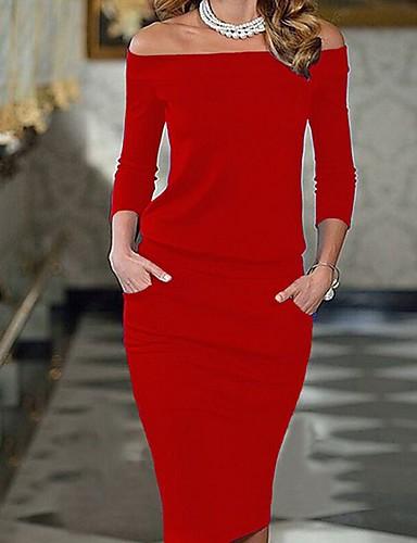 Damen Ausgehen Bodycon Kleid Solide Knielang Schulterfrei Rot