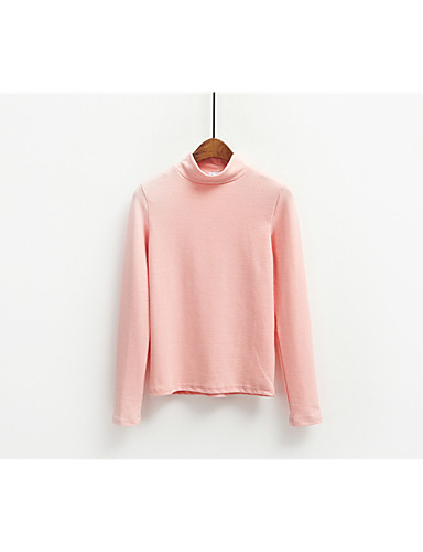 Damen Solide Einfach Lässig/Alltäglich T-shirt,Rundhalsausschnitt Frühling Sommer Langarm Baumwolle Dünn