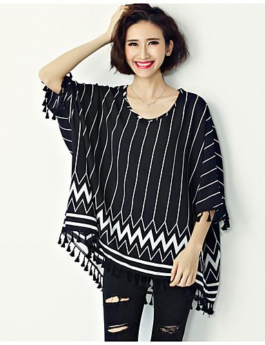 Damen Gestreift Einfach Lässig/Alltäglich T-shirt,Rundhalsausschnitt ¾-Arm Baumwolle