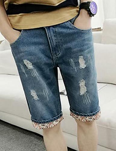 Herren Street Schick Mittlere Hüfthöhe Mikro-elastisch Kurze Hosen Lose Hose einfarbig