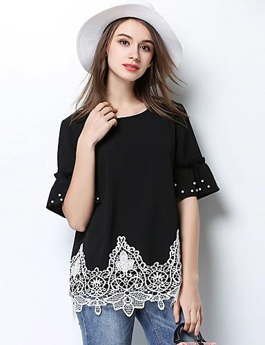 Damen Solide Einfach T-shirt,Rundhalsausschnitt Polyester