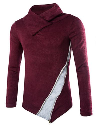 Herren Standard Pullover-Lässig/Alltäglich Einfach Einfarbig Rollkragen Langarm Baumwolle Herbst Mittel Mikro-elastisch