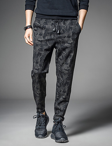 Men's Active / Street chic Plus Size Cotton / Polyester / Spandex Harem / Loose / Active Pants - Camouflage Floral / Sports / Club