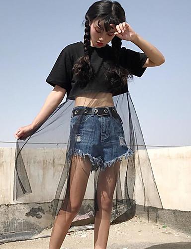 Damen Patchwork Einfach Lässig/Alltäglich T-shirt,Rundhalsausschnitt Frühling Sommer Kurzarm Baumwolle Dünn