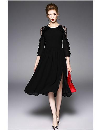 Dámské Běžné/Denní Pouzdro Šaty Jednobarevné Kulatý Délka ke kolenům Polyester Léto High Rise Lehce elastické Tenké
