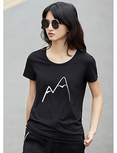 Naiset Lyhythihainen Pyöreä kaula-aukko Puuvilla Yksinkertainen Päivittäin Kausaliteetti T-paita,Painettu