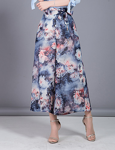 Damen Niedlich Einfach Hohe Hüfthöhe Mikro-elastisch Chinos Breites Bein Hose,Blumig Chiffon Schleife Mehrschichtig Druck