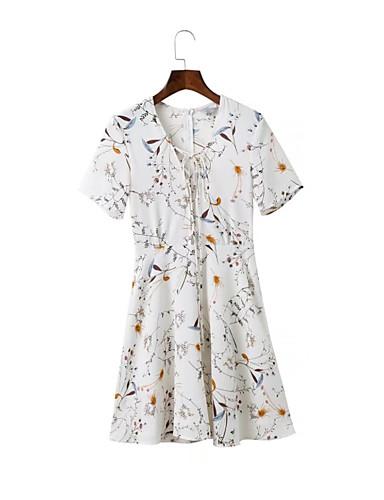 Damen A-Linie Lose Etuikleid Kleid Einfach Street Schick Blumen V-Ausschnitt Übers Knie Kurzarm Seide Baumwolle Sommer Herbst Mittlere