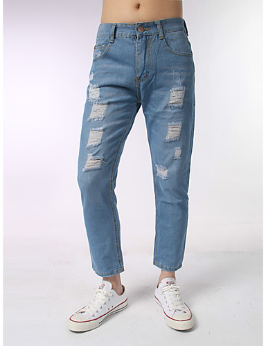 Herren Einfach Mittlere Hüfthöhe Mikro-elastisch Jeans Schlank Hose,Jeansstoff einfarbig