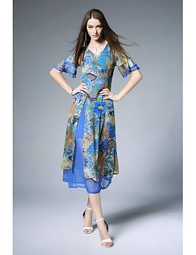 Damen Aufflackern-Hülsen- A-Linie Kleid - Gitter Druck V-Ausschnitt