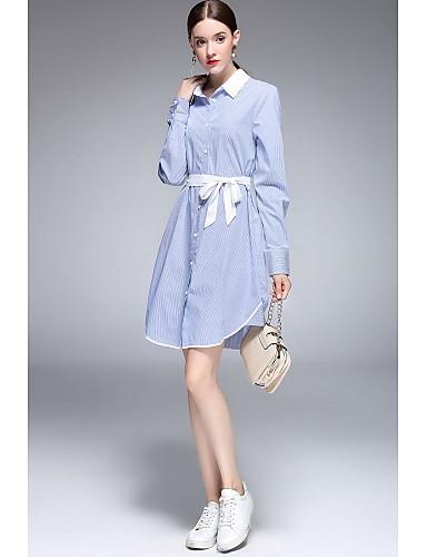 Damen A-Linie Kleid Niedlich Solide Hemdkragen Asymmetrisch Langarm Baumwolle Frühling Sommer Mittlere Hüfthöhe Unelastisch Dünn