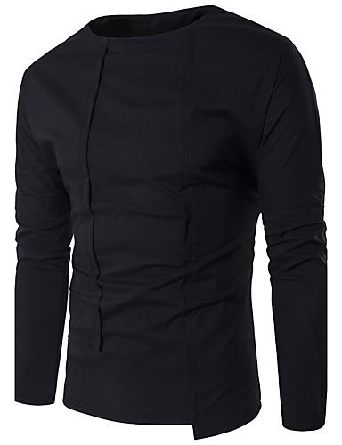 Herren Solide Einfach Lässig/Alltäglich Hemd,Rundhalsausschnitt Langarm Baumwolle